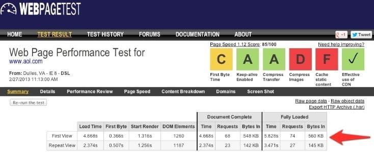 site hızı ölçme webpagetest